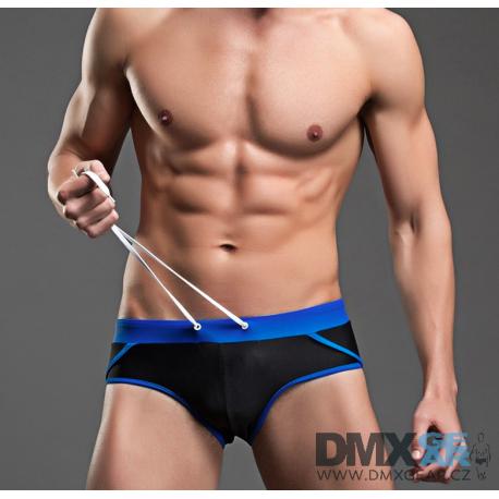 BRAVE PERSON černo-modré plavky slipové Super Body