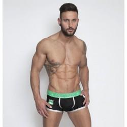 PINK HERO černé boxerky se zelenými boky Rugby