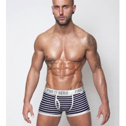 PINK HERO černo-bílé pruhované boxerky Stripes