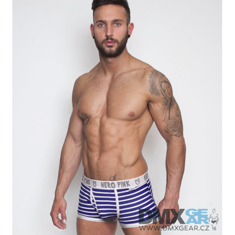 PINK HERO modro-bílé pruhované boxerky Stripes
