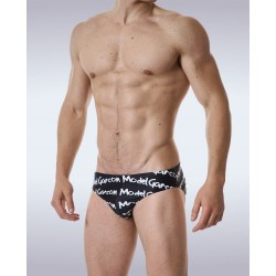 GARÇON MODEL plavky slipové černé Black Graffiti Swim Brief