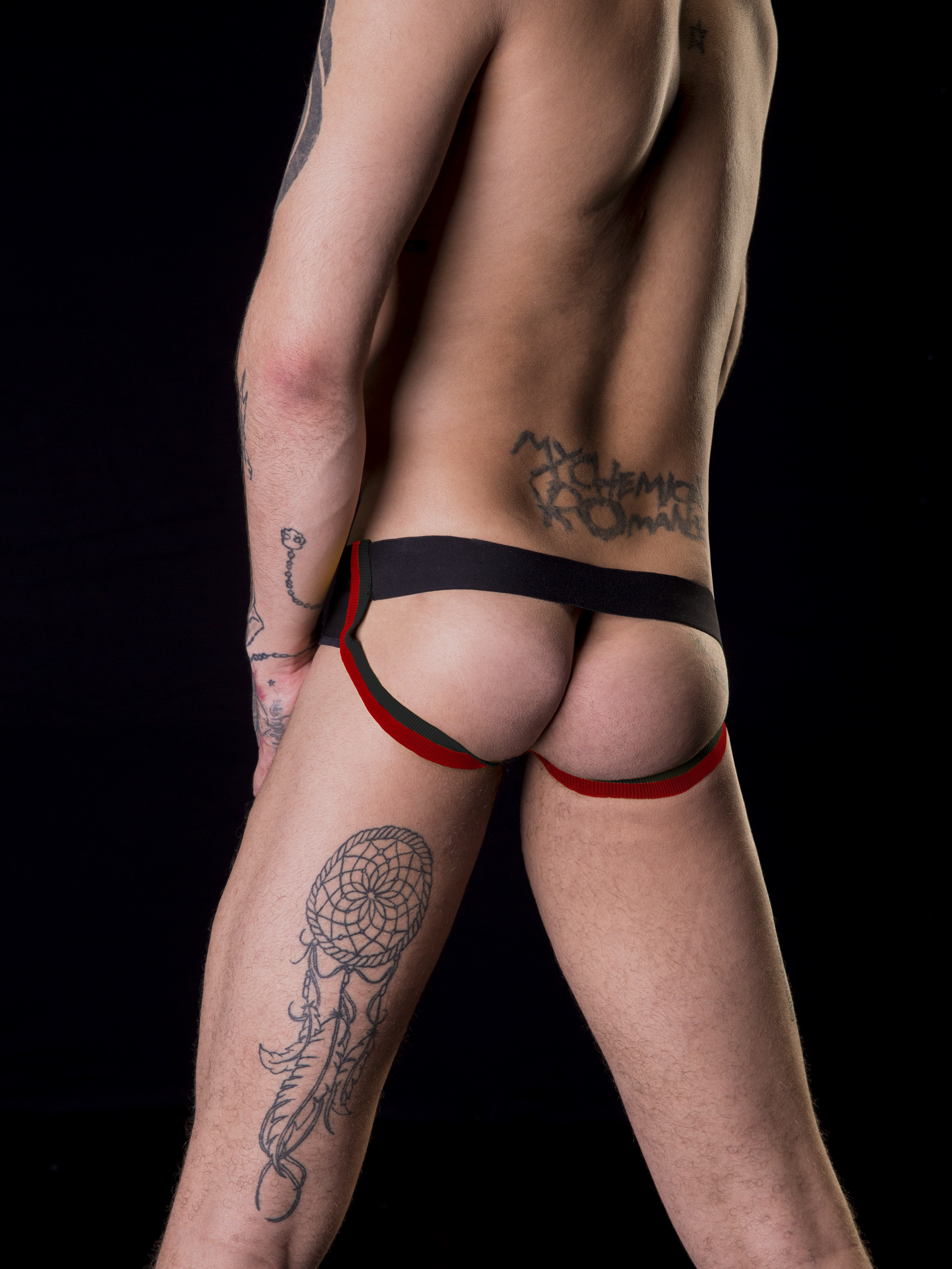 BARCODE BERLIN černé pánské jockstrapy Backless BlowBob s červenými pásky