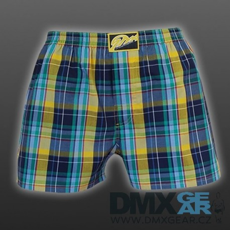 STYX UNDERWEAR pánské volné modro-žluté kostkované trenýrky Classic A514