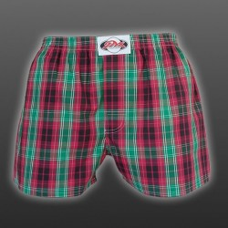 STYX UNDERWEAR pánské volné červeno-zelené kostkované trenýrky Classic A513