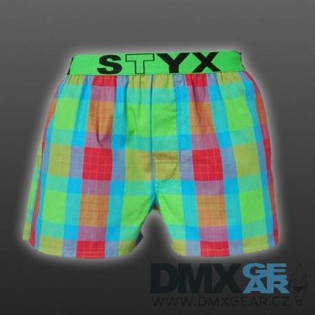 STYX UNDERWEAR pánské volné zelené kostkované trenýrky Sport B520