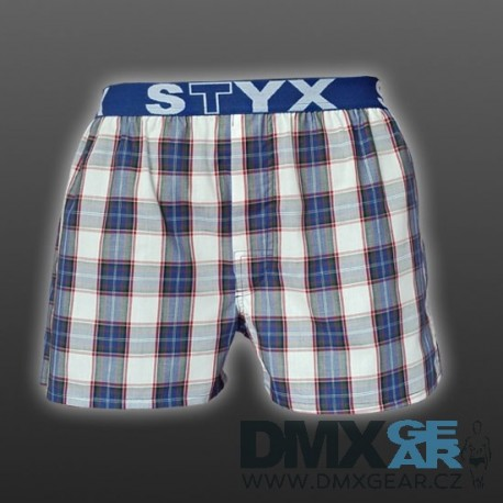 STYX UNDERWEAR pánské volné modro-šedé kostkované trenýrky Sport B516 Velikost L