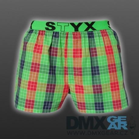 STYX UNDERWEAR pánské volné zelené kostkované trenýrky Sport B515