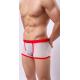 MANVIEW bílé průhledné boxerky s červenou gumou