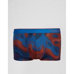 CALVIN KLEIN oranžovo-modré pánské boxerky Micro Low Rise Trunk U8516