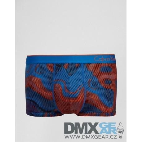 CALVIN KLEIN oranžovo-modré pánské boxerky Micro Low Rise Trunk U8516 Velikost S