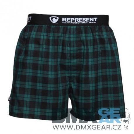REPRESENT pánské bavlněné zelené kostkované trenýrky Mikebox 16209 Velikost L