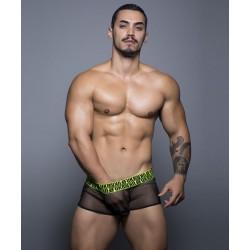 ANDREW CHRISTIAN pánské černé průsvitné boxerky FUKR Mesh Boxer 90125