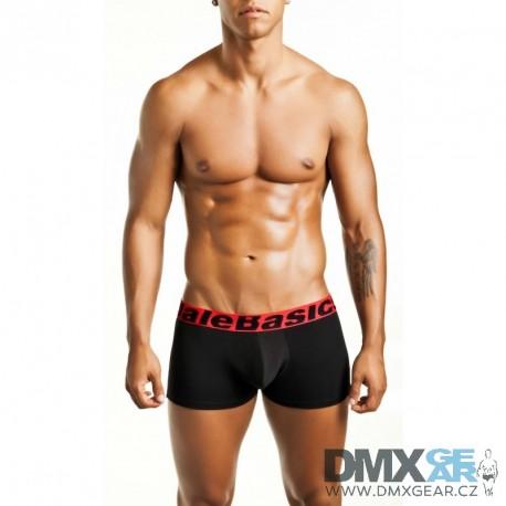 MALE BASICS boxerky černé s červenou gumou MBT01