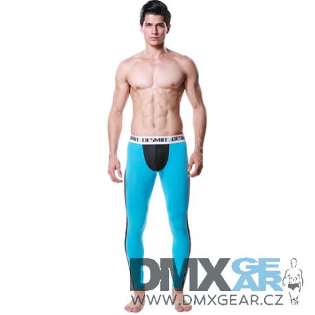DESMIIT tyrkysovo-černé pánské dlouhé kalhoty Pure