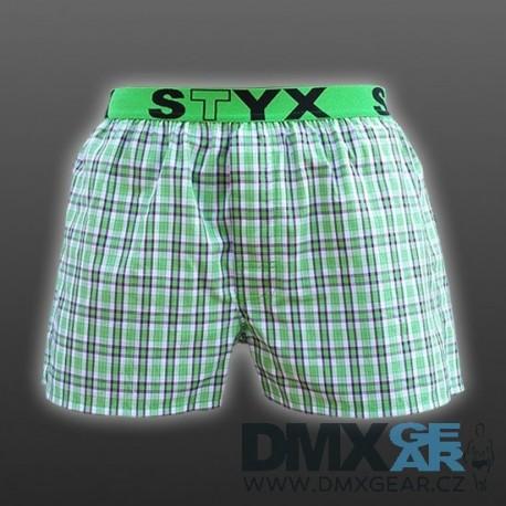 STYX UNDERWEAR pánské volné zelené kostkované trenýrky Sport B527