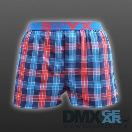 STYX UNDERWEAR pánské volné červeno-modré kostkované trenýrky Sport B529 c640bed439