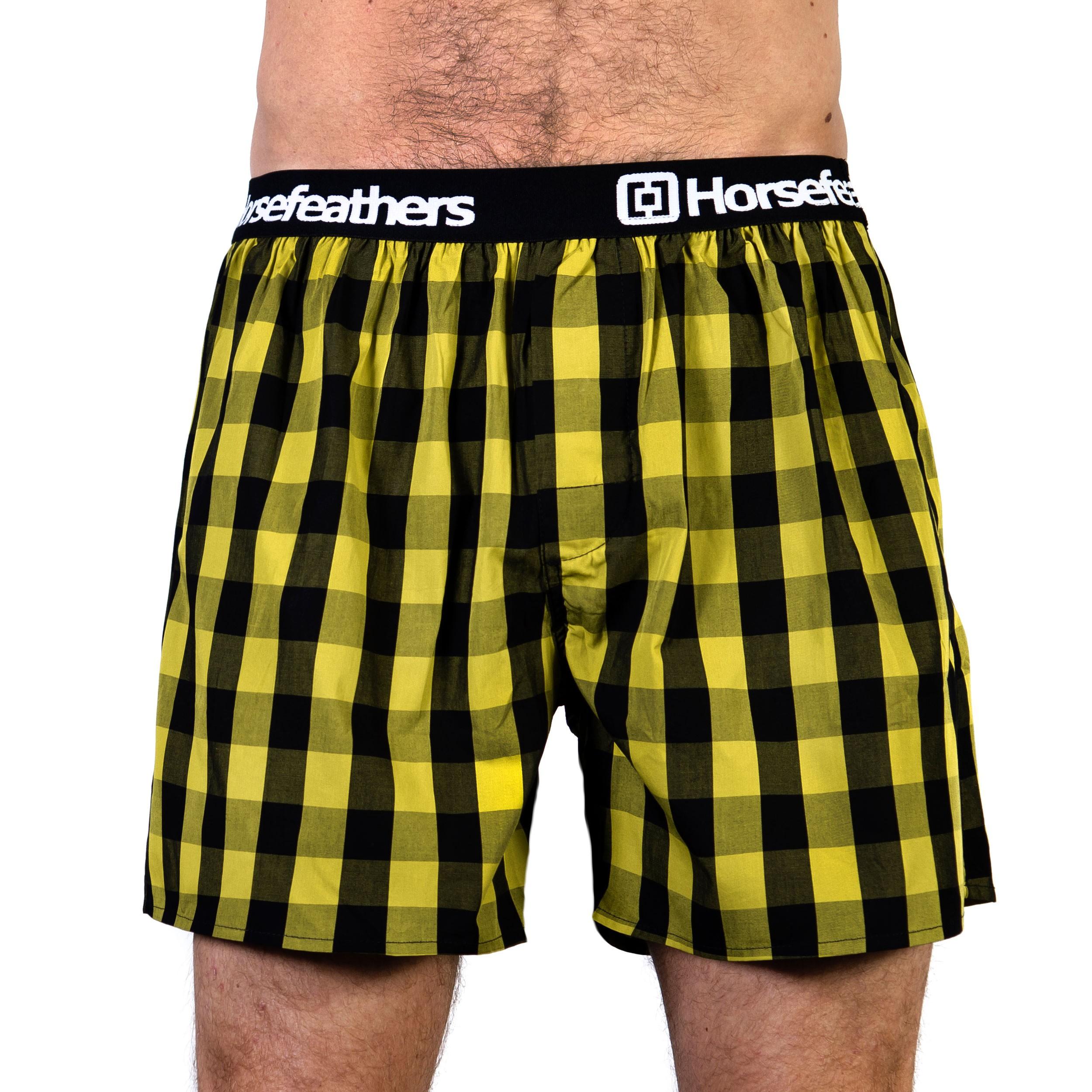 HORSEFEATHERS pánské žluté kostičkované trenýrky Apollo Boxer Shorts CITRONELLE