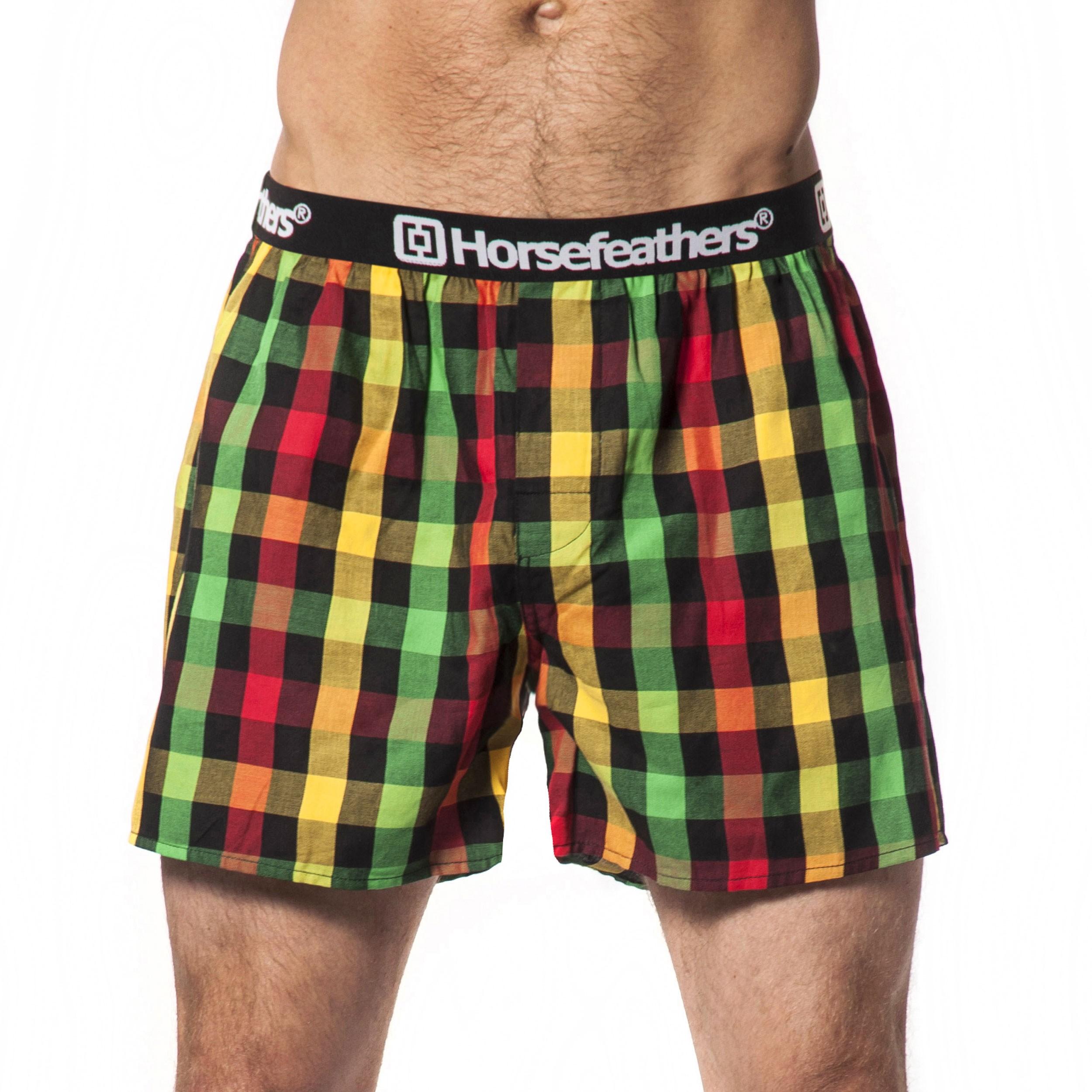 HORSEFEATHERS pánské červeno-žluto-zelené kostičkované trenýrky Apollo Boxer Shorts RASTA