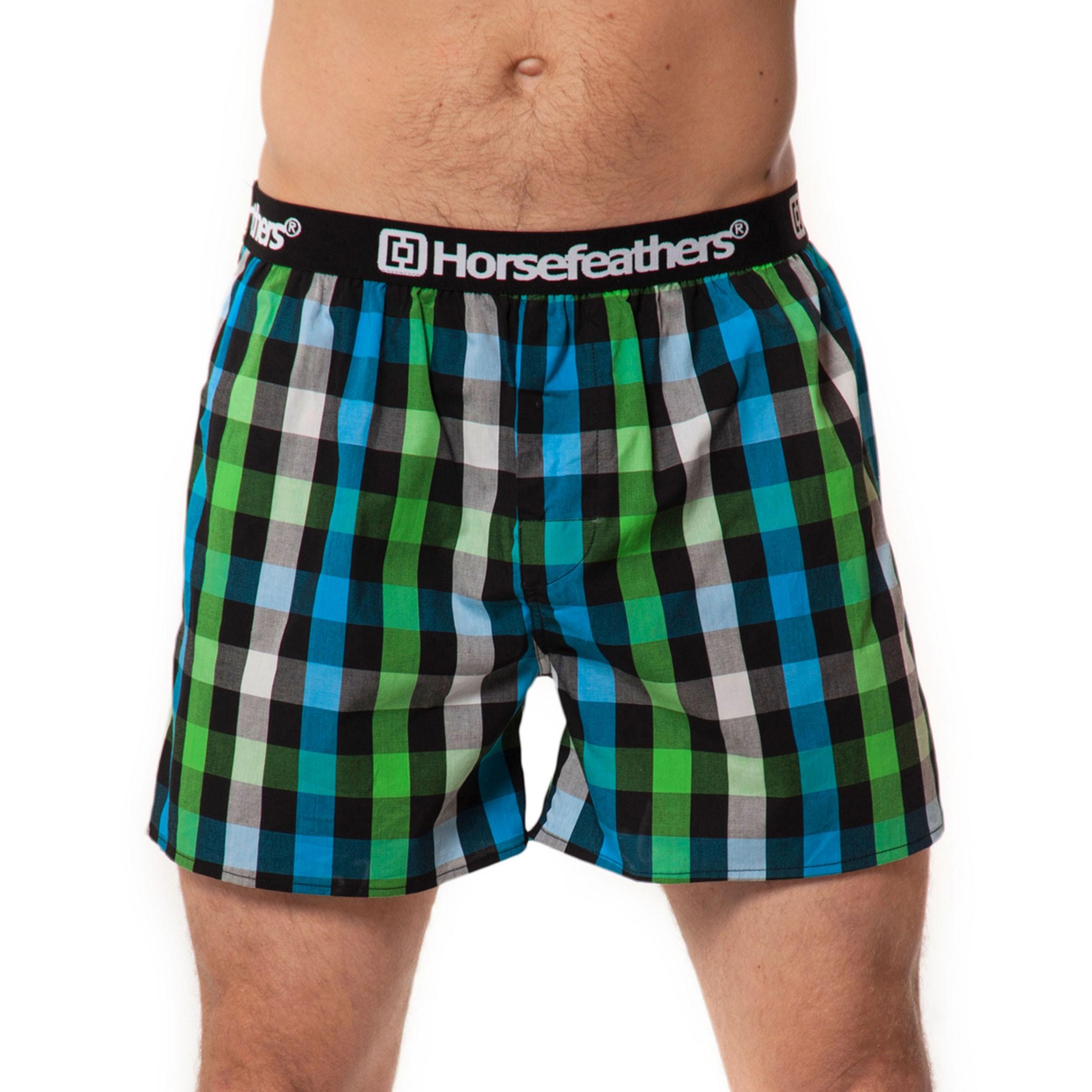 HORSEFEATHERS pánské modro-zelené kostičkované trenýrky Apollo Boxer Shorts GREEN