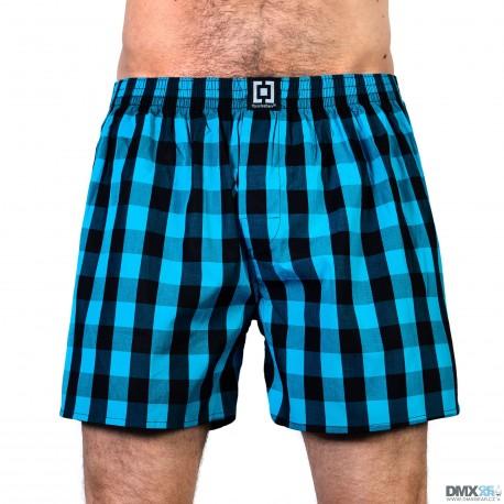 HORSEFEATHERS pánské tyrkysovo-černé kostičkované trenýrky Sin Boxer Shorts