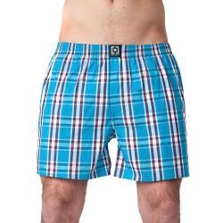 HORSEFEATHERS pánské tyrkysové kostičkované trenýrky Sin Boxer Shorts