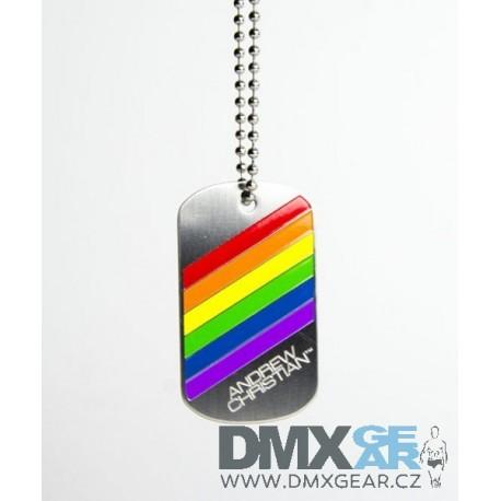 ANDREW CHRISTIAN řetízek pánský s pruhy Pride Stripes Dog Tag