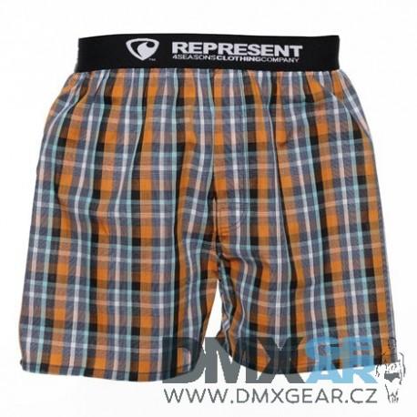 REPRESENT pánské bavlněné oranžovo-šedé kostkované trenýrky Mikebox 17281