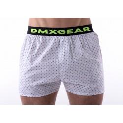 DMXGEAR luxusní pánské bílé volné trenýrkyBlue Dots Tartan