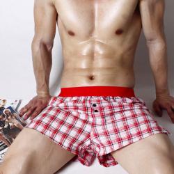 PINK HERO volné trenýrky kostičkované červeno-bílé Super Body
