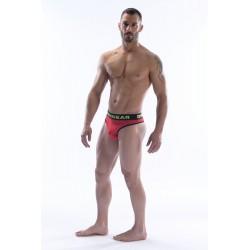 DMXGEAR pánská luxusní červená tanga Anatomically Fit Thong s černou gumou v pase