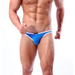 BRAVE PERSON modré bokové slipy a plavky současně s bílým lemováním Swim