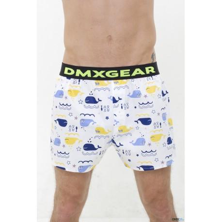 DMXGEAR Luxusní pánské volné trenýrky s motivem modrých velryb Tartan by DMXGEAR