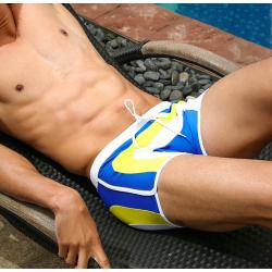 AQUX plavky boxerkové bílo-modro-žluté Beach Sea