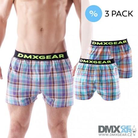 3 pack DMXGEAR luxusních pánských volných trenýrek Tartan