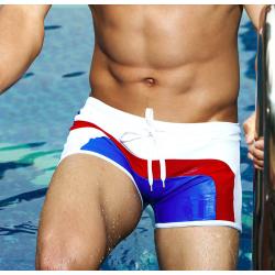 AQUX plavky boxerkové bílo-modro-červené Beach Sky