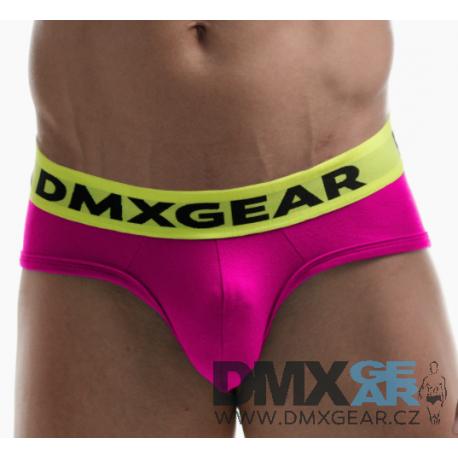 DMXGEAR pánské luxusní růžové slipy Anatomically Fit Brief se žlutou gumou v pase