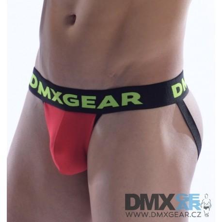 DMXGEAR pánské luxusní červené jocksy Anatomically Fit Jock s černou gumou v pase