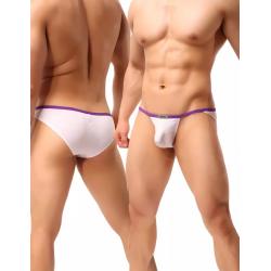JJ SOX bílé páské slipy s fialovým lemováním