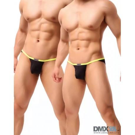 JJ SOX černé pánské slipy se žlutým lemováním