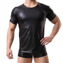SHINO černé koženkové triko s krátkým rukávem