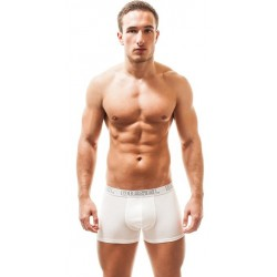 DIESEL boxerky bílé pánské Essential s šedým nápisem DIESEL