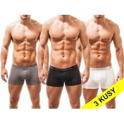DIESEL boxerky černé, bílé a šedé Essential v 3balení