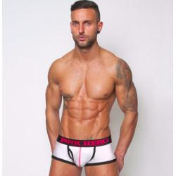 PINK HERO bílé boxerky s černou gumou