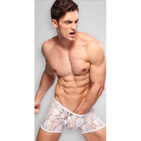 BRAVE PERSON bílé síťované/krajkové boxerky Velikost M