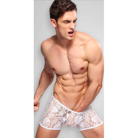 BANDI bílé síťované/krajkové boxerky