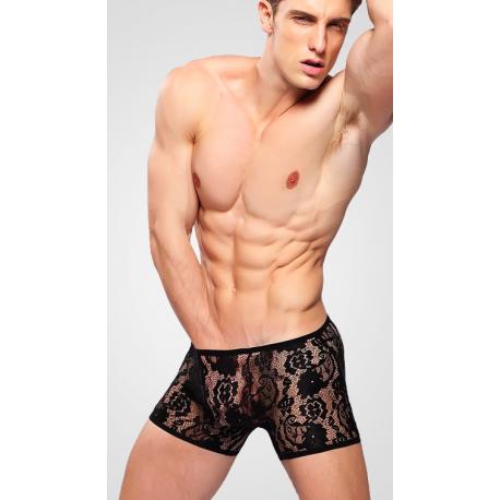 BRAVE PERSON černé síťované/krajkové boxerky Velikost L
