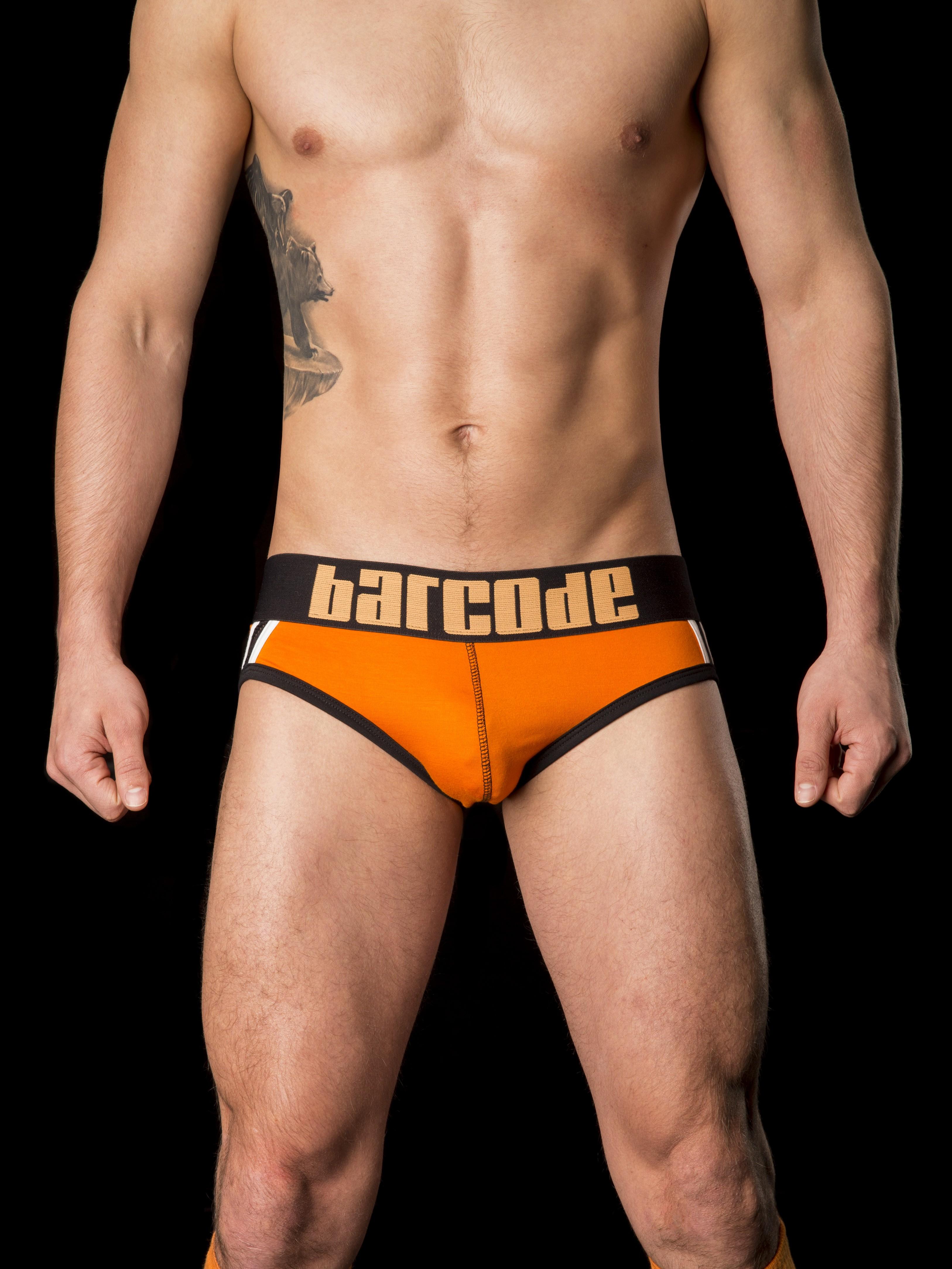BARCODE BERLIN oranžové pánské jockstrap backless slipy Yoschy
