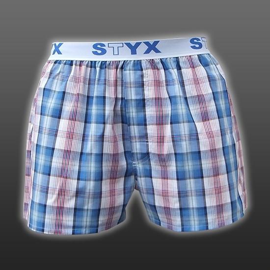 STYX UNDERWEAR bavlněné světle modré pánské trenýrky Sport B418 kostka