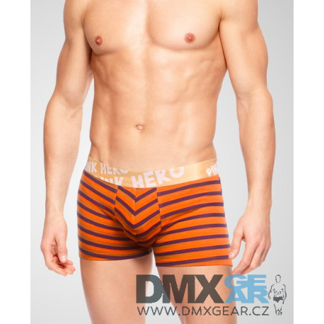 PINK HERO oranžové pruhované pánské boxerky Striped Men Boxer