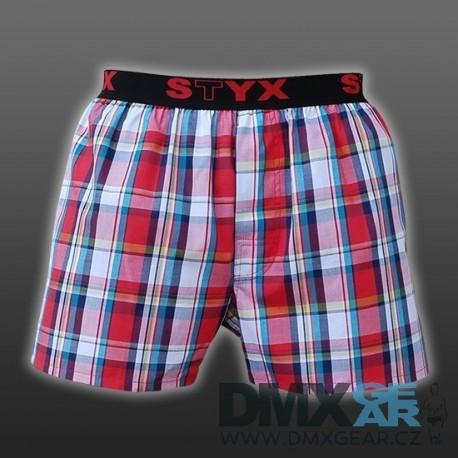 STYX UNDERWEAR bavlněné červené kostkované pánské trenýrky Sport B430 Velikost M
